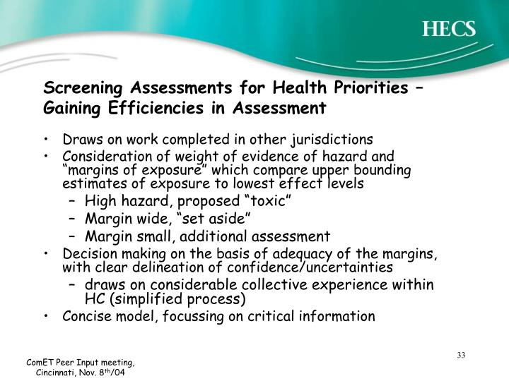Screening Assessments for Health Priorities – Gaining Efficiencies in Assessment