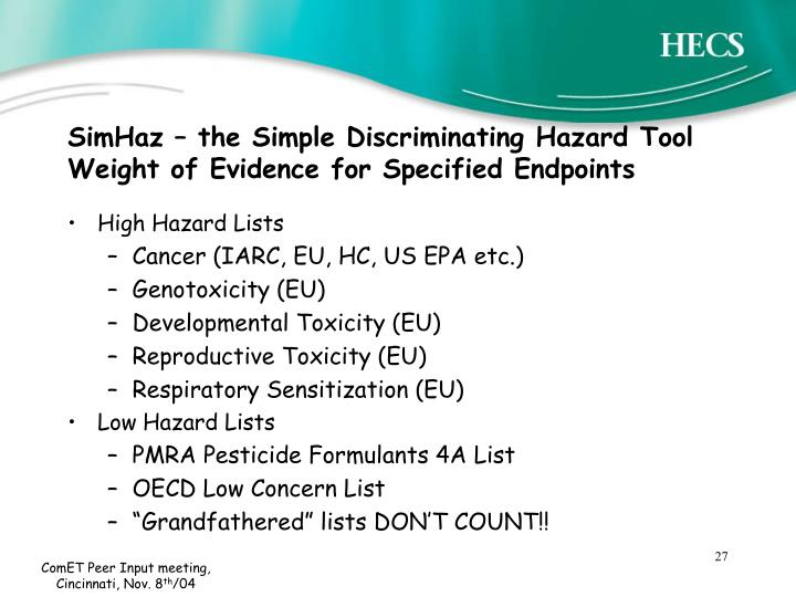 SimHaz – the Simple Discriminating Hazard Tool