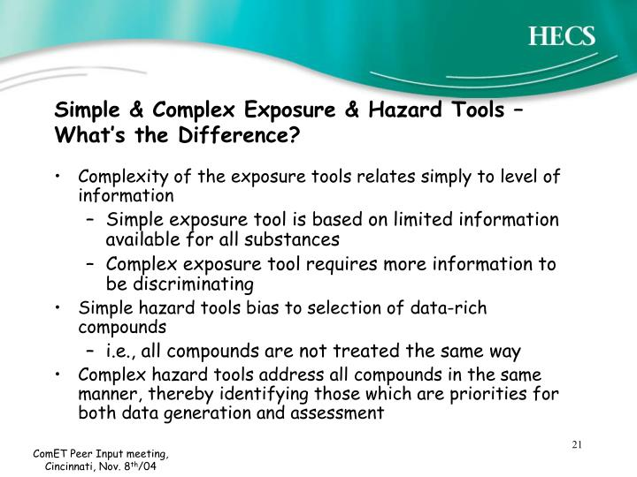 Simple & Complex Exposure & Hazard Tools – What's the Difference?