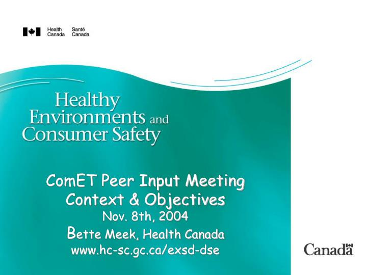ComET Peer Input Meeting