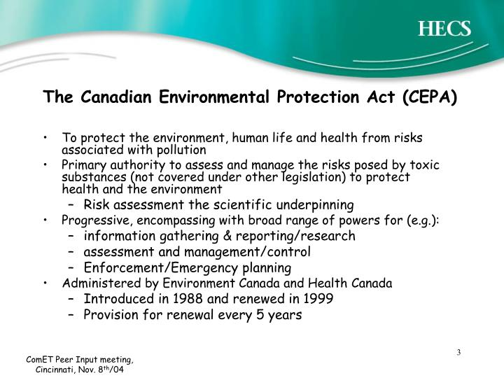 The Canadian Environmental Protection Act (CEPA)