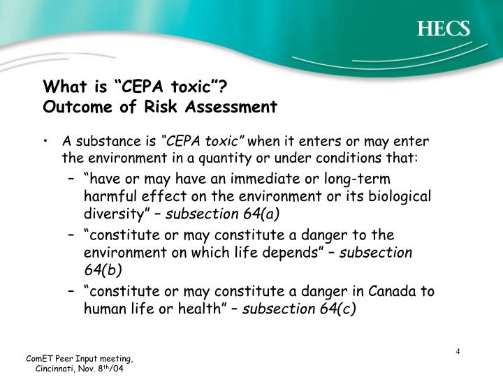 """What is """"CEPA toxic""""?"""