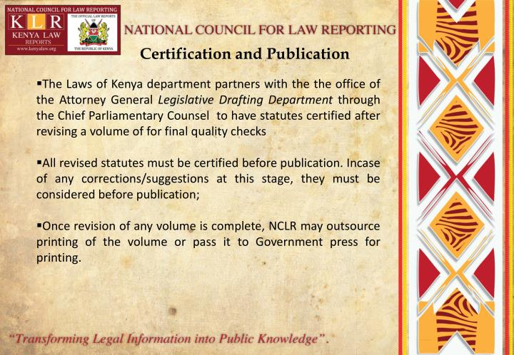 Certification and Publication