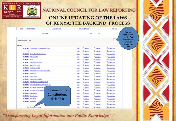 ONLINE UPDATING OF THE LAWS OF KENYA: THE BACKEND  PROCESS