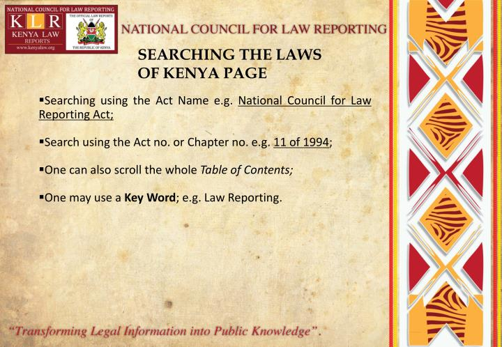 SEARCHING THE LAWS OF KENYA PAGE