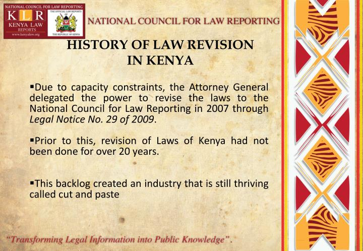 HISTORY OF LAW REVISION IN KENYA