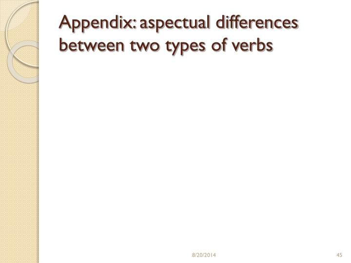 Appendix: aspectual differences between two types of verbs