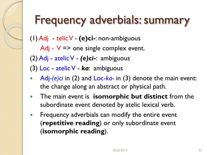Frequency adverbials: summary