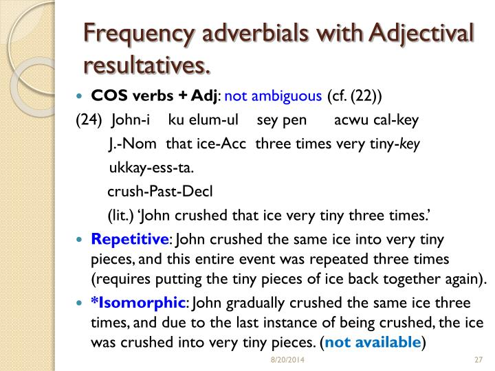 Frequency adverbials with Adjectival