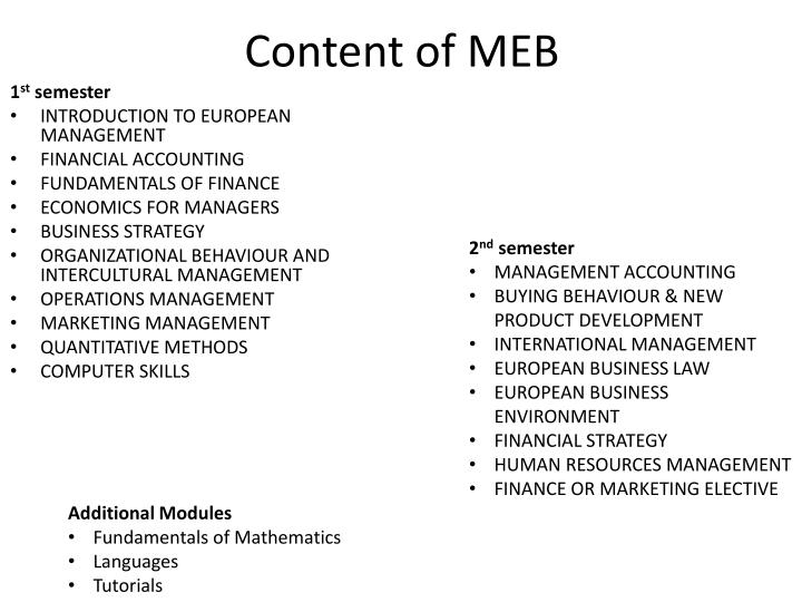 Content of MEB