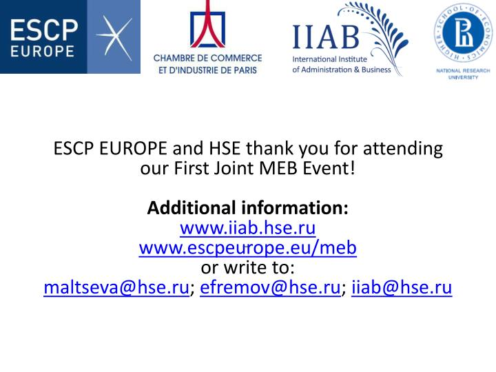 ESCP EUROPE and HSE thank you for attending our First Joint MEB Event!