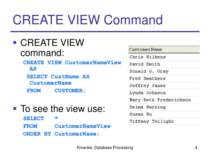 CREATE VIEW Command