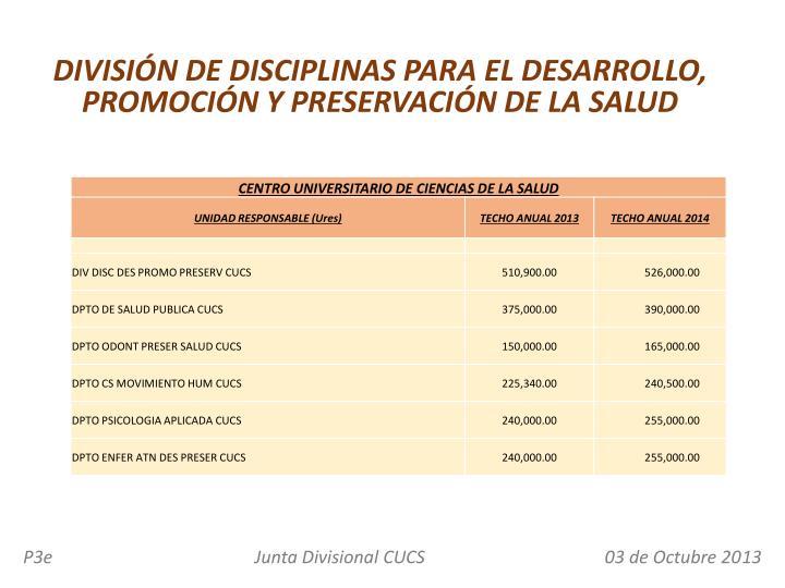 DIVISIÓN DE DISCIPLINAS PARA EL DESARROLLO, PROMOCIÓN Y PRESERVACIÓN DE LA SALUD