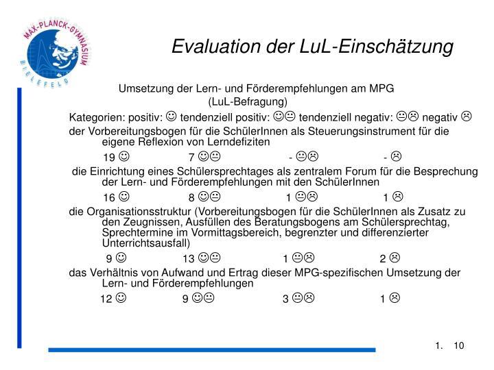 Evaluation der LuL-Einschätzung