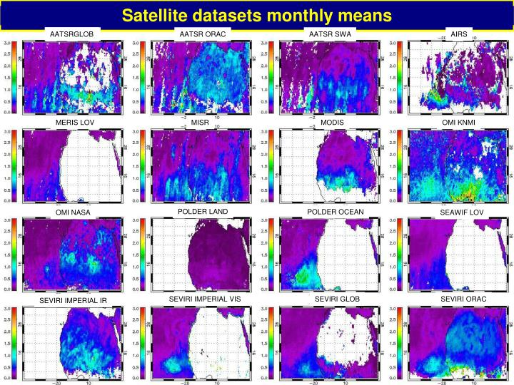 Satellite datasets monthly means