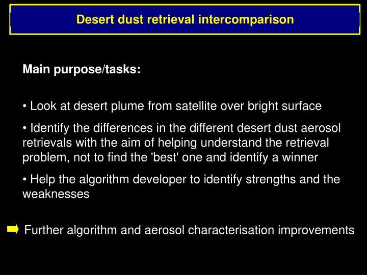 Desert dust retrieval intercomparison