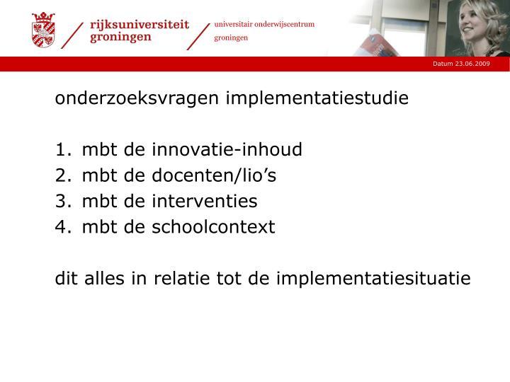 onderzoeksvragen implementatiestudie