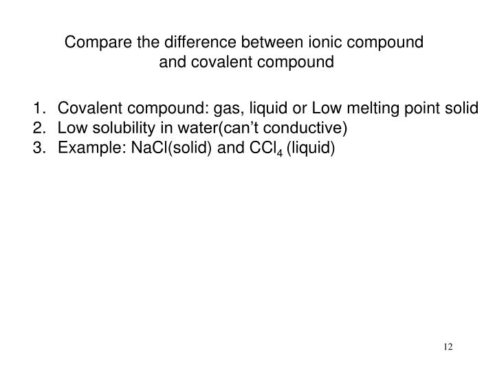 Compare the difference between ionic compound
