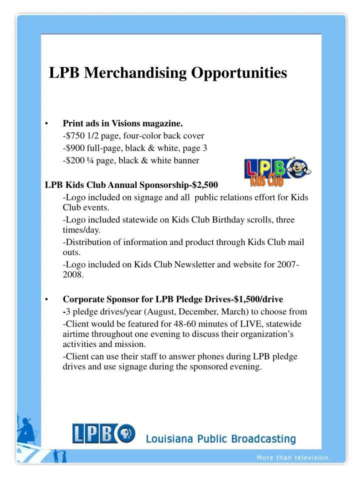 lpb merchandising opportunities