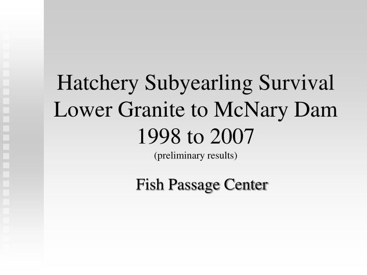 Hatchery Subyearling Survival Lower Granite to McNary Dam 1998 to 2007