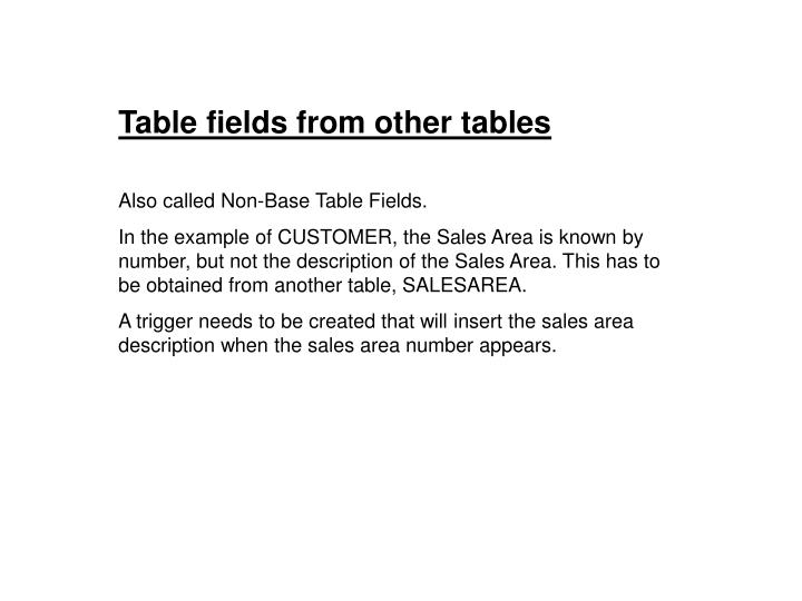 Table fields from other tables
