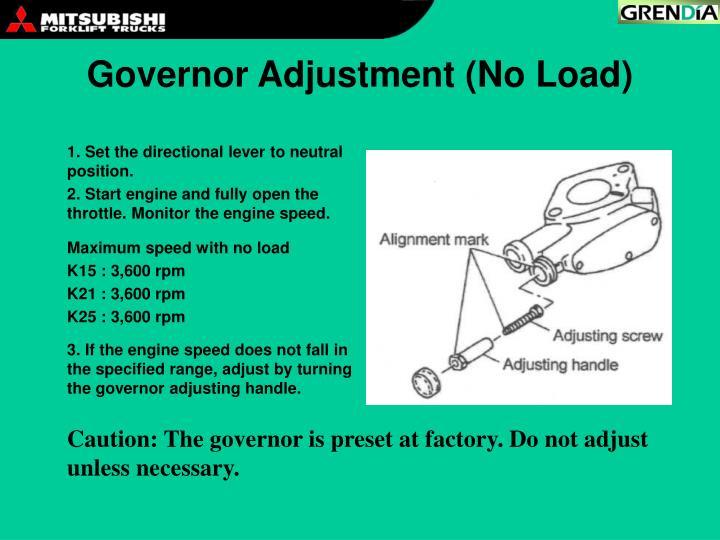 Governor Adjustment (No Load)