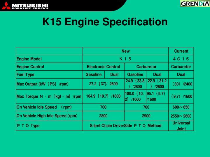 K15 Engine Specification