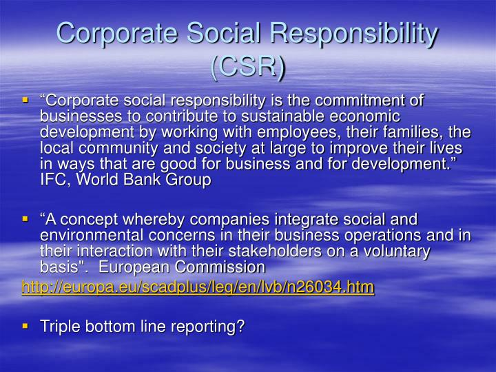 Corporate social responsibility csr
