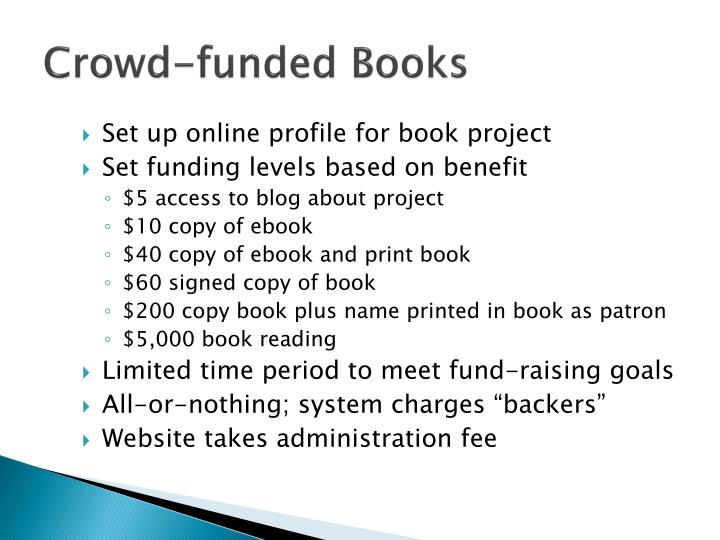 Crowd-funded Books