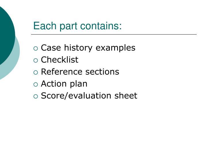 Each part contains: