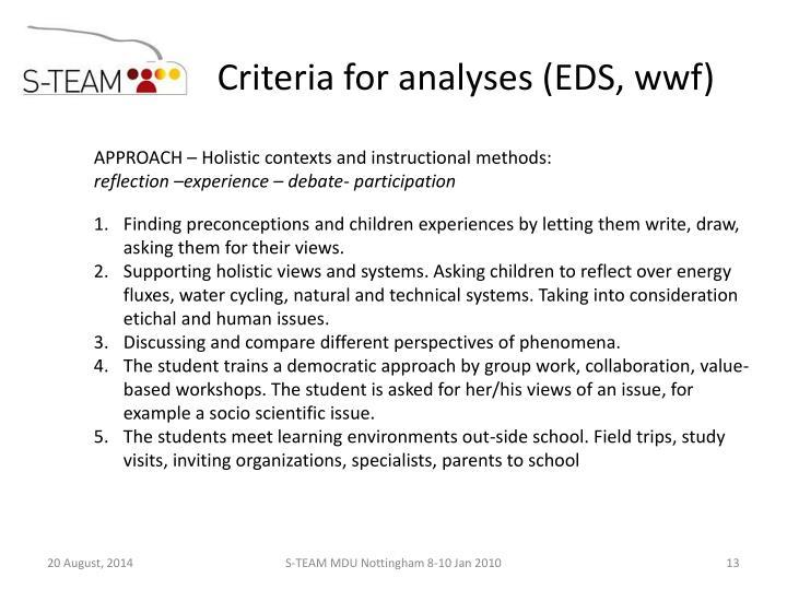 Criteria for analyses (EDS, wwf)