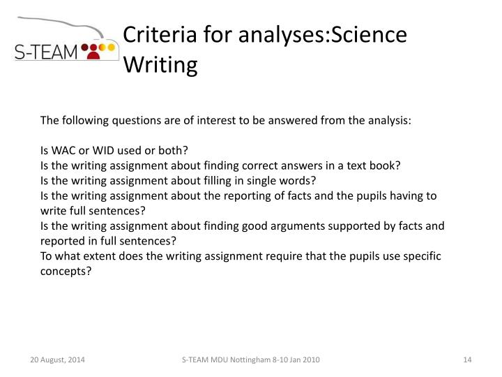 Criteria for analyses:Science Writing