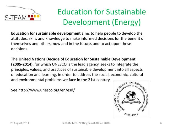 Education for Sustainable Development (Energy)