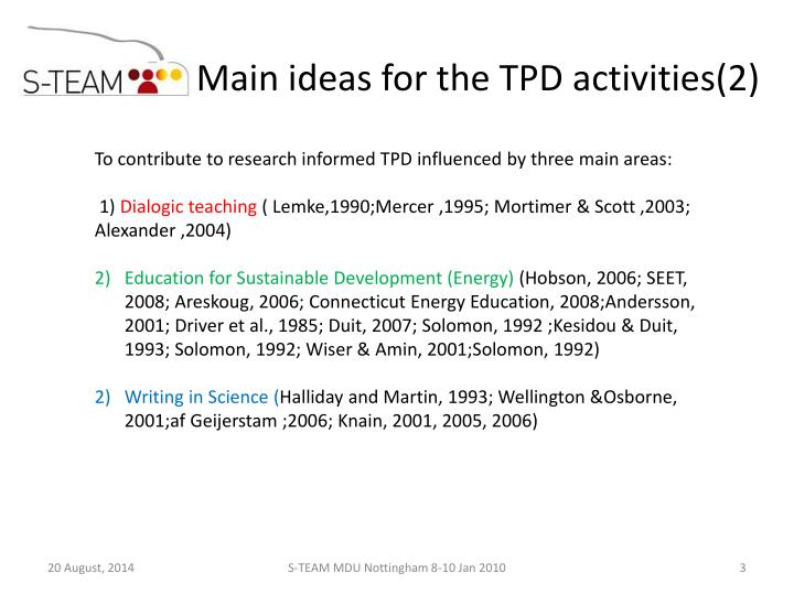 Main ideas for the TPD activities(2)