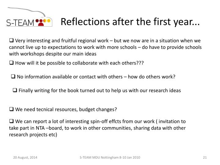 Reflections after the first year...
