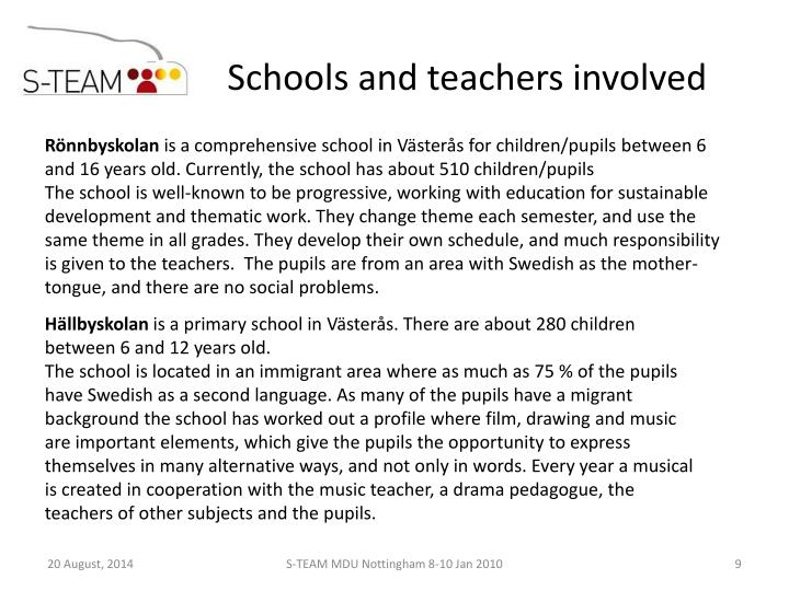 Schools and teachers involved
