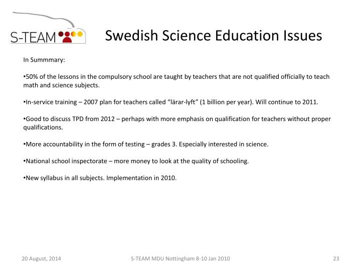 Swedish Science Education Issues