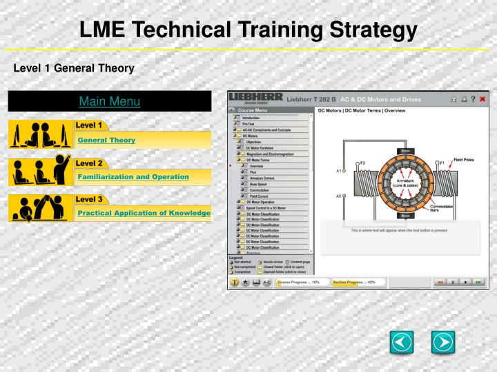 LME Technical Training Strategy