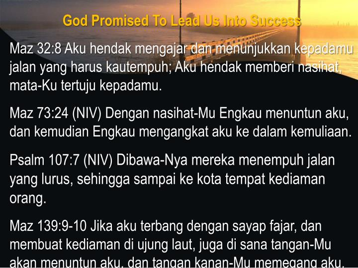 God Promised To Lead Us Into Success