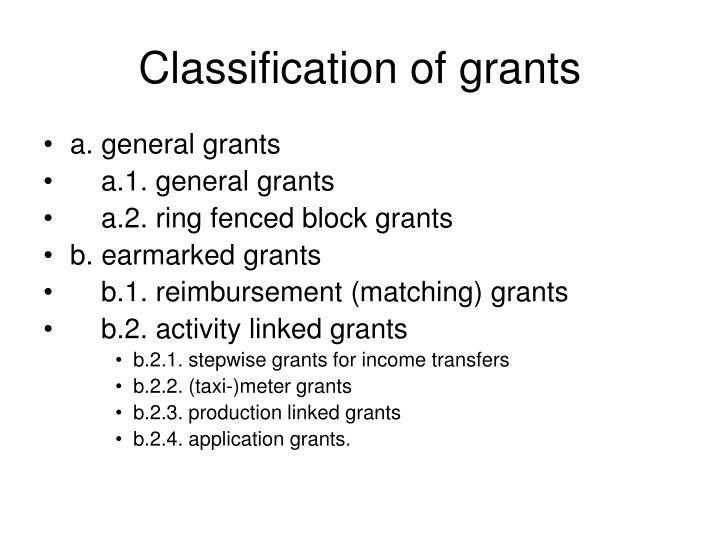 Classification of grants
