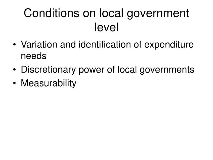Conditions on local government level