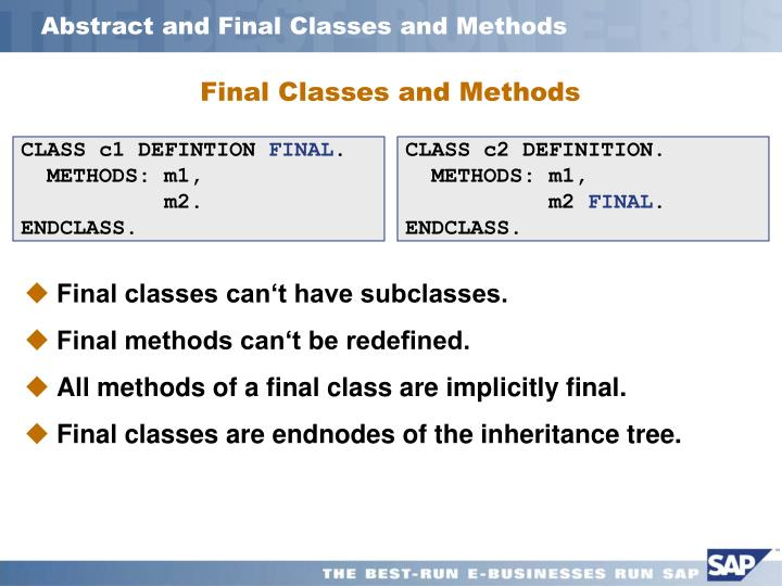 Abstract and Final Classes and Methods