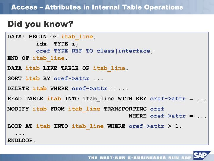Access – Attributes in Internal Table Operations