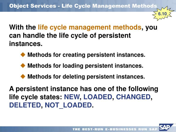 Object Services - Life Cycle Management Methods