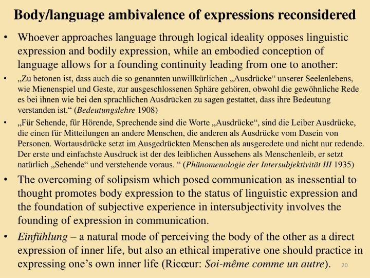 Body/language ambivalence of expressions reconsidered