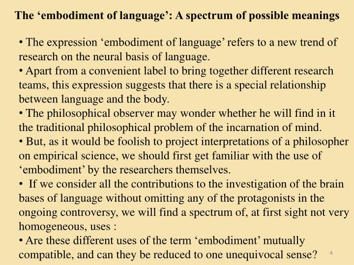 The 'embodiment of language': A spectrum of possible meanings