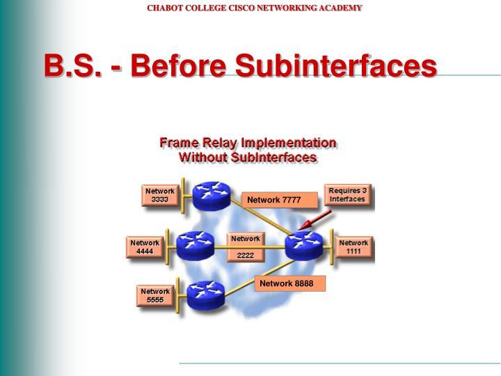 B.S. - Before Subinterfaces