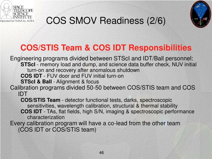 COS SMOV Readiness (2/6)