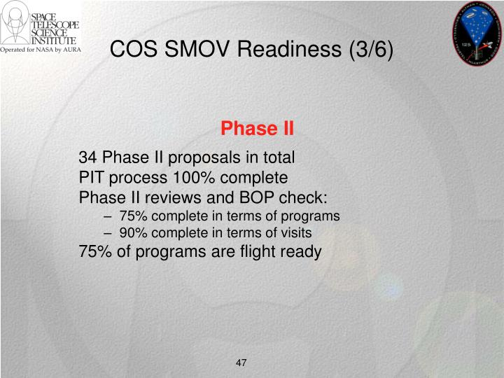 COS SMOV Readiness (3/6)