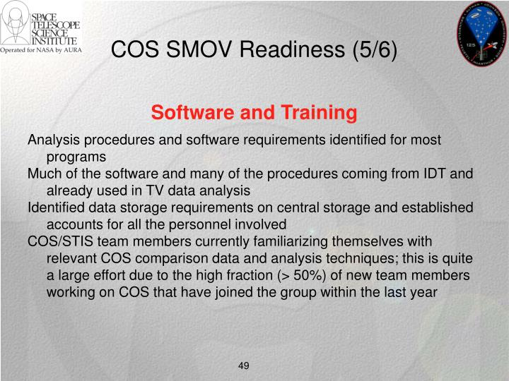 COS SMOV Readiness (5/6)